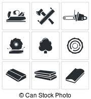 Woodworking Industry Icons Silhouette