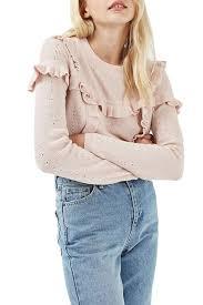 TOPSHOP Ruffle Yoke Sweater
