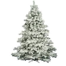The Holiday Aisle Flocked Alaskan 65 White Green Pine Trees Artificial Christmas Tree Reviews