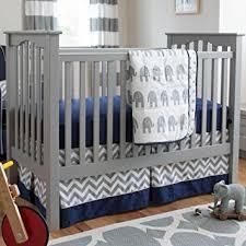 Amazon Carousel Designs Navy and Gray Elephants 3 Piece Crib
