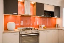 Pale Orange Kitchen Plain Poppy Glass Subway