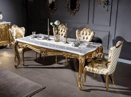 casa padrino luxus barock esstisch weiß gold 202 x 102 x h 80 cm massivholz küchentisch esszimmertisch prunkvolle esszimmer möbel im