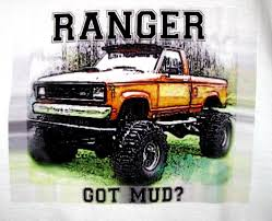 100 Ford Mud Truck Tshirt 4x4 Offroad Lifted FORD RANGER Bogger White Tee