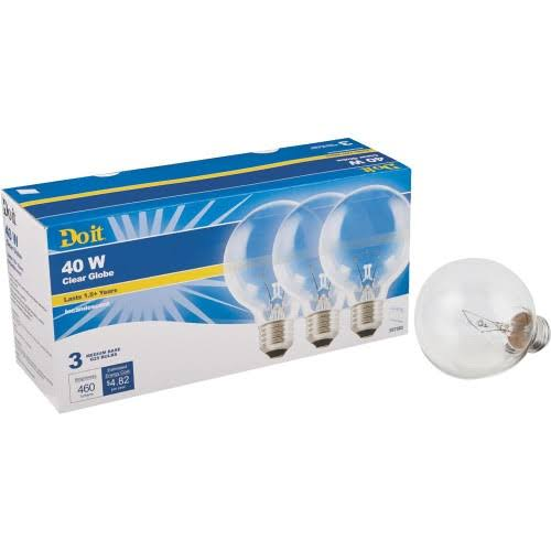 Do it Decorative Clear Bulb - 40W, 3pk