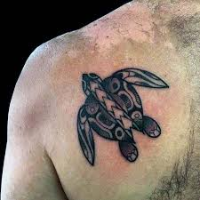 Small Turtle Dotwork Mens Back Tattoos