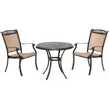 Hanover Fontana 3-Piece Aluminum Outdoor Bistro Set With 2 Sling Chairs And  A 32 In. Cast-Top Table Patio Chairs At Lowescom Outdoor Wicker Stacking Set Of 2 Best Selling Chair Lots Lloyd Big Cushions Slipcove Fniture Sling Swivel Decoration Comfortable Small Space Sets For Tiny Spaces Unique Cana Qdf Ding Agio Majorca Rocker With Inserted Woven Alinium Orlando Charleston Myrtle White Table And Seven Piece Monterey 3 0133354 Spring China New Design Textile