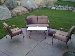 White Patio Chairs Walmart by Exterior Cozy Concrete Flooring With Natural Green Grass And