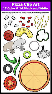 You Will Receive 31 Pizza And Toppings Clipart Graphics 17 Colored 14 Black White These Work Well For Food Themed Products