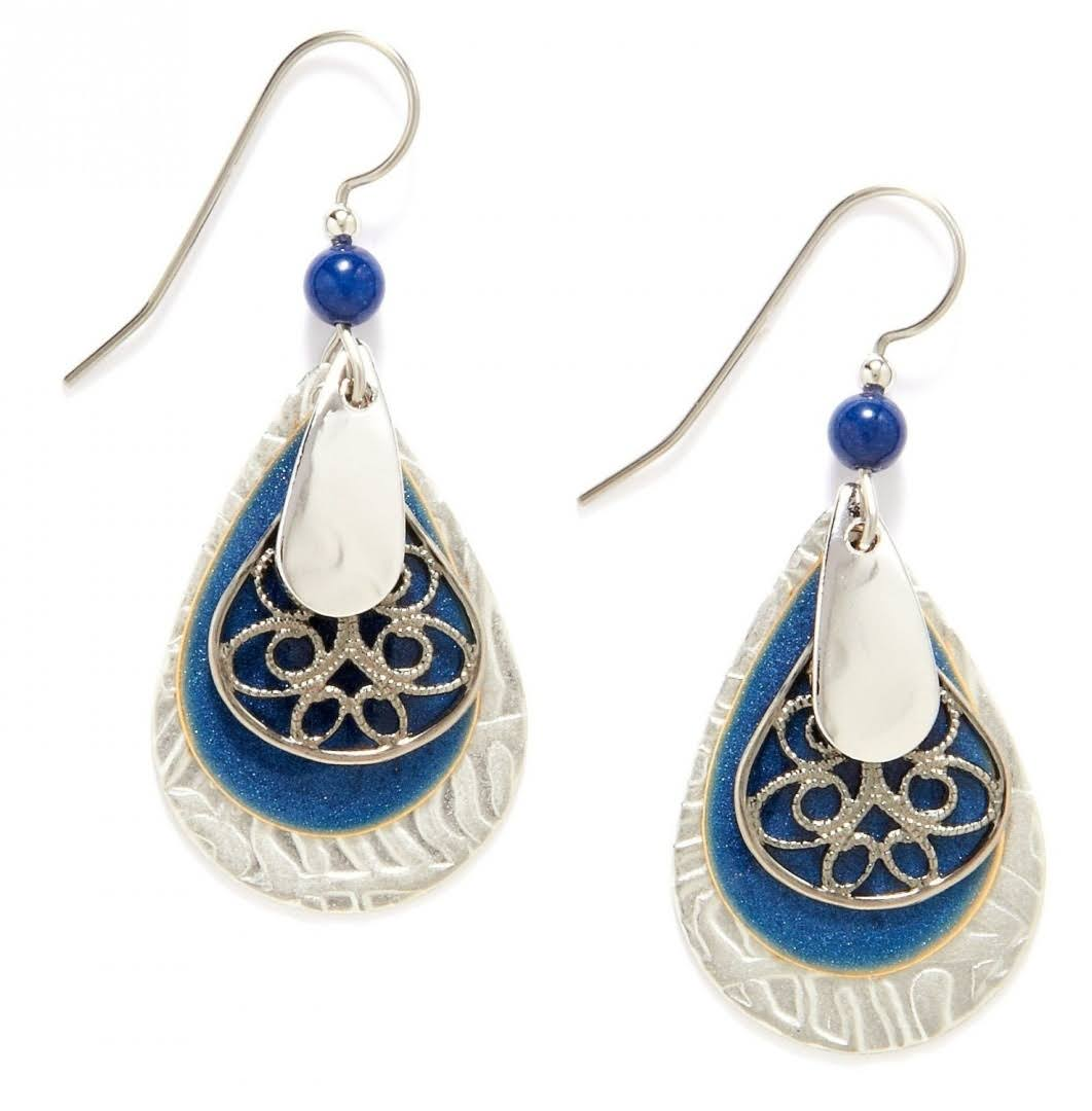 Silver Forest Earrings - Blue and Silver Tone, Teardrop
