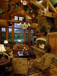Great Room Of Rustic Cabin Cottage Or Lodge Also Referred To As Family Living Interior