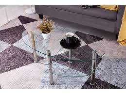 couchtisch bob wohnzimmertisch sofatisch beistelltisch oval glas transparent