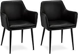 ibbe design 2er set schwarz kunstleder esszimmerstühle