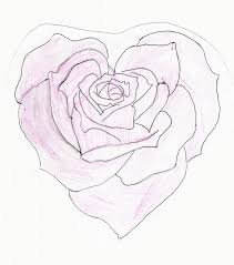 Art Drawings Of Hearts And Roses Heart Shaped Rose Drawing By Feeohnah