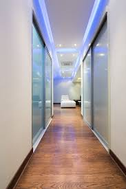 Adorable Modern False Ceiling Lights With Blue Color Lamps As Inspiring Contemporary Hallway Lighting Interior Ideas