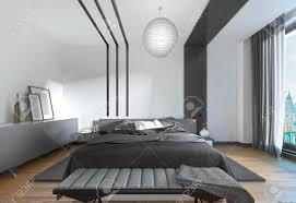 modernes bett im schlafzimmer der zeitgenössische stil schlafzimmer schwarz weiß design 3d übertragen