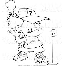 Printable Illustration Of A Coloring Page Boy Playing Tee Ball