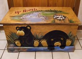 up north black bear toy box kids furniture wooden chest