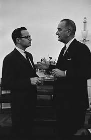 President Johnson Right Meets With Special Assistant Moyers In The White House Oval Office