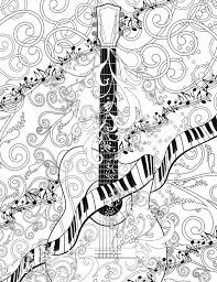 Adult Coloring Page Printable Guitar By JuleezGallery Colouring PagesAdult Book