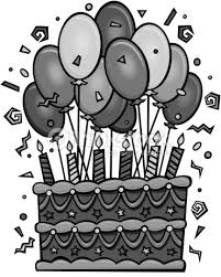 Birthday cake with balloons Grouped elements Grayscale Time to celebrate Happy Birthday Vector Art
