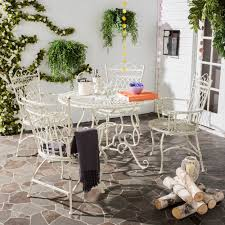Patio Dining Table Chairs Outdoor Rustic Vintage Dining Set Iron ...