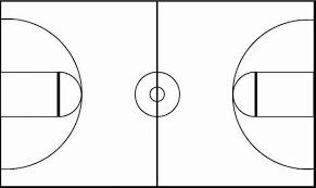 Basketball floor diagram black white court clipart enjoyable