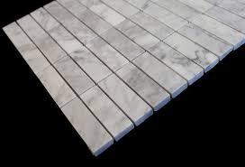 italian white carrara marble 1 x 3 brick polished mosaic tile