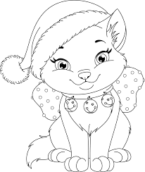 Christmas Kitty Free Coloring Page O Animals Holidays