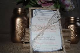 Simple Rustic Wedding Invitations With White Lace Combined Grey Mason Jar Inviattions Decoration In Gunny Sack Frame Material Design