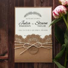 Craft Paper Outer Pocket With Floral Laser Cut Invite Wrapped Twine