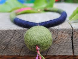 Big Single Bead Necklace For Women, Moss Green Felt Ball Necklace, Navy  Simple Necklace For Everyday, Felted Wool Jewelry, Organic Jewellery