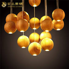 Native Wood Handmade Wooden Chandelier Hanging LED Pendant Lamp