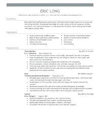 Resume Template Fast Food Cashier Waitress