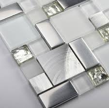 glass mosaic kitchen backsplash tile ssmt104 silver stainless