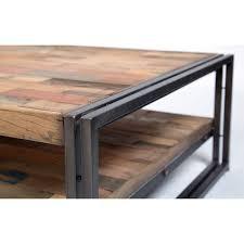 table basse carrée style industrielle en métal et bois recyclé