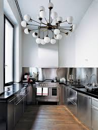 Industrial Style Kitchen All Stainless Steel Oversized Lighting