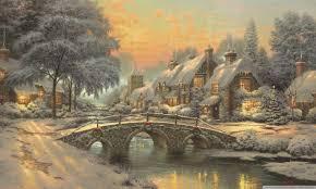 Thomas Kinkade Christmas Tree by Classic Christmas Painting By Thomas Kinkade Hd Desktop Wallpaper