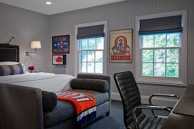 View In Gallery Transitional Masculine Bedroom Showcases A Plush Way To Decorate The Foot Of Bed By Stephanie Wohlner Design