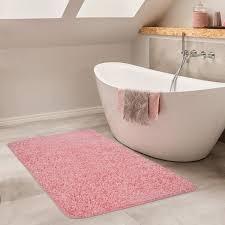 badezimmer teppich hochflor badematte rutschfest pink