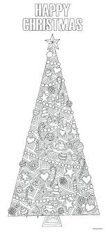 Colour In Christmas Tree Illustration