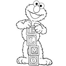 Elmo Is Playing With The Alphabet Blocks By Spelling His Name Coloring Pages