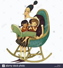 Woman In Rocking Chair Reading Story Book To Girls Sitting ... Rocking Chair Health Uk Kids Toy Horse Story Illustration For Children Little Room With A Wooden This Is The Only Chair Youll Need If Youre Grandparent Of Ikea Ps Rockingchair First Sketches Today Chairs Whats Their Story Souvenirs Tell Stories Part 7 Jim Illinois Fairytale Fniture Silky The Pony Antique Rocking From 1800s Collectors Weekly Buy Storyhome Adjustable Folding Lounge Red Time For Twins