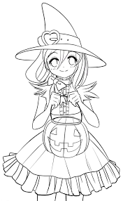 Halloween Coloring Page Cute Costume
