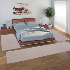 paco home bettumrandung 3 teilig teppich schlafzimmer hochflor fellimitat flauschig einfarbig grösse 2mal 60x90 1mal 80x300 farbe beige