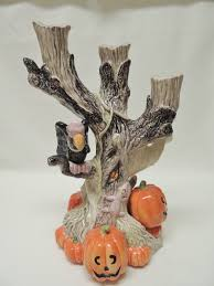 Halloween Flameless Taper Candles by Fitz And Floyd Halloween 3 Branch Tree Stump Candle Holder Ghost