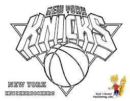 Knicks New York Basketball Teams Coloring Pages