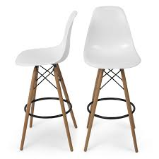 Belleze Set Of (2) High Chair Bar Modern Stool Style DSW Counter Height  Natural Wood Legs -White