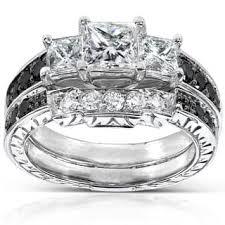 Annello by Kobelli 14k White Gold 1 3 5ct TDW Black and White Diamond Bridal