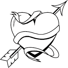 Valentine Heart With Arrow Coloring Pages
