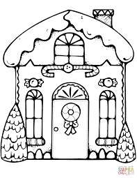 Xmas Gingerbread House Coloring Page Free Printable Pages